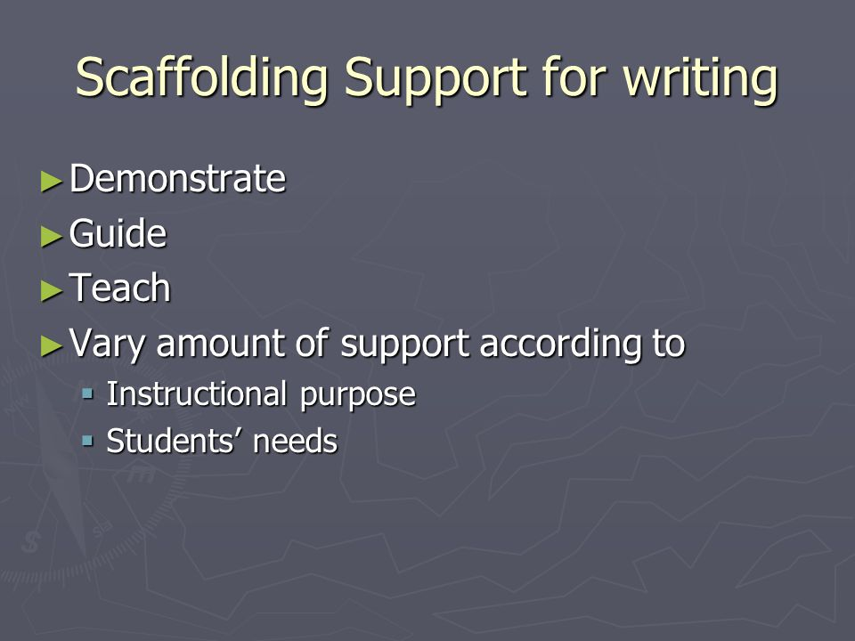 Scaffolding Support for writing