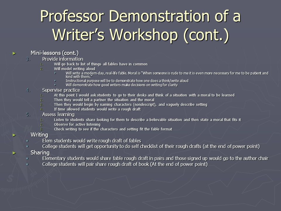 Professor Demonstration of a Writer's Workshop (cont.)