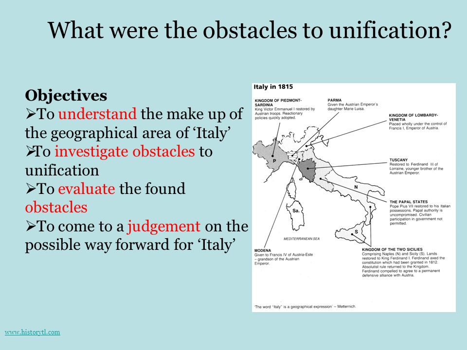 What were the obstacles to unification