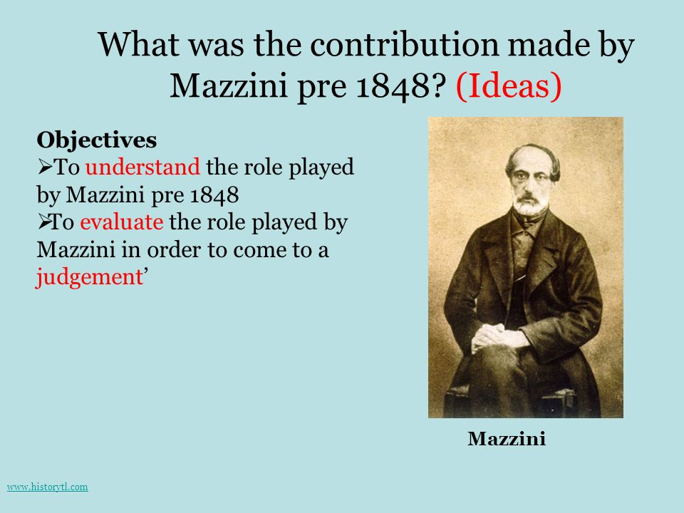 What was the contribution made by Mazzini pre 1848 (Ideas)