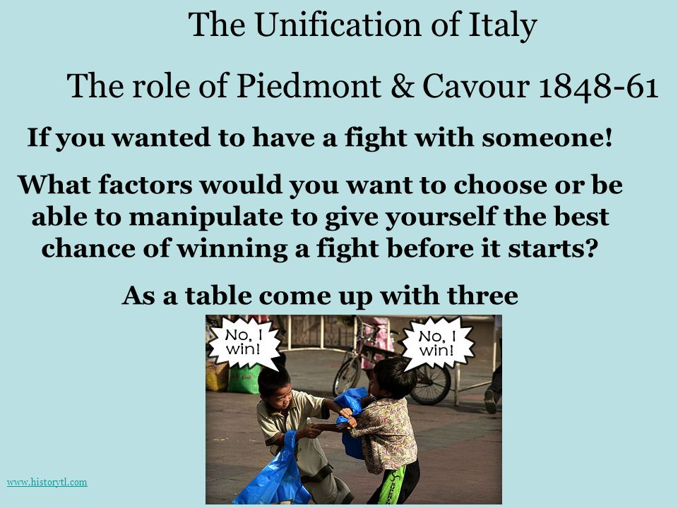 The Unification of Italy The role of Piedmont & Cavour