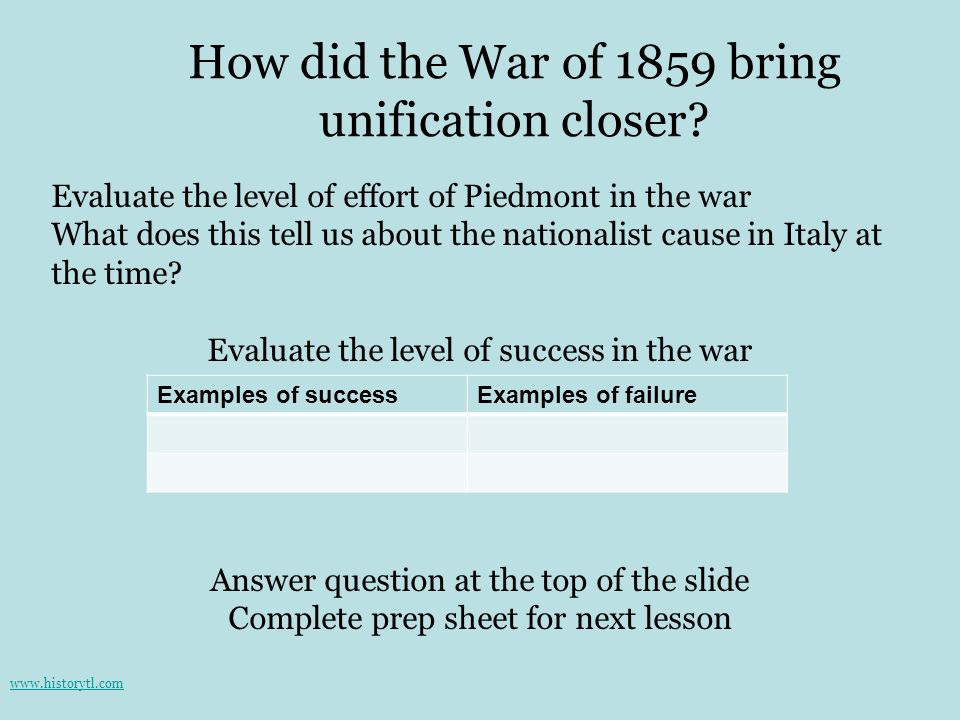 How did the War of 1859 bring unification closer