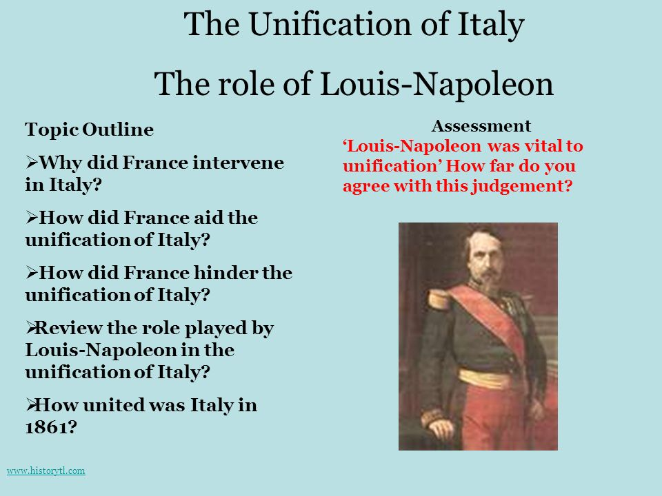 The Unification of Italy The role of Louis-Napoleon