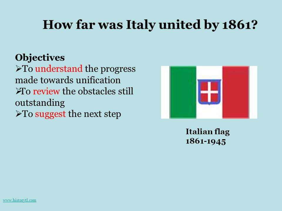 How far was Italy united by 1861