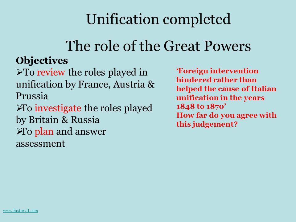 Unification completed The role of the Great Powers