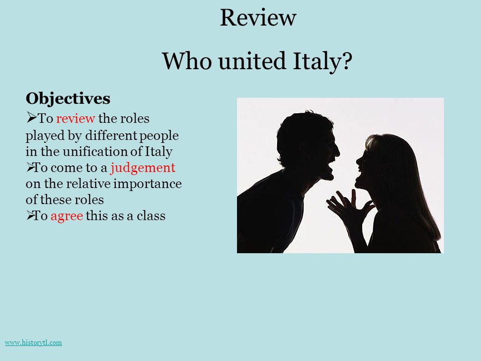Review Who united Italy Objectives
