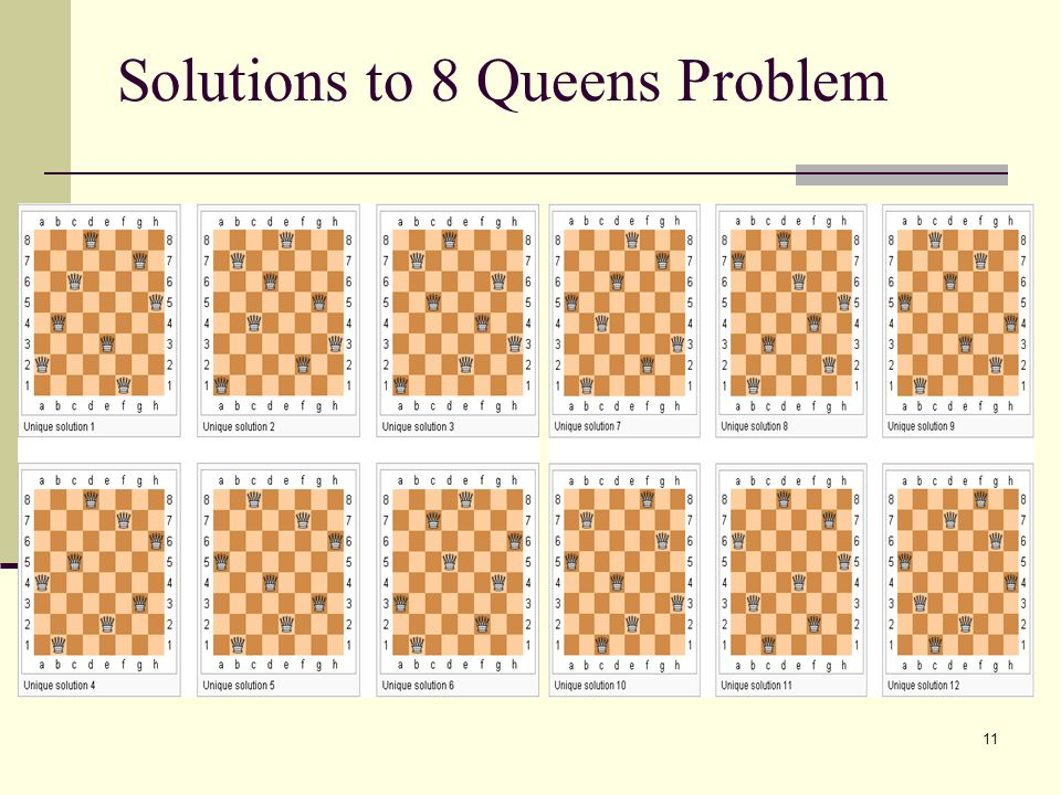 Solutions to 8 Queens Problem