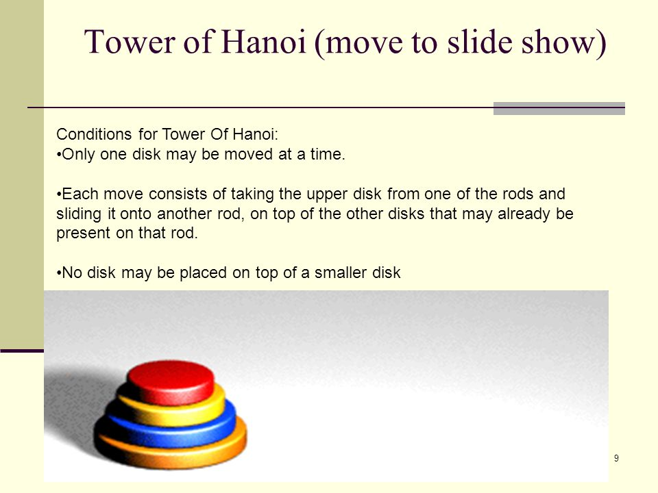 Tower of Hanoi (move to slide show)