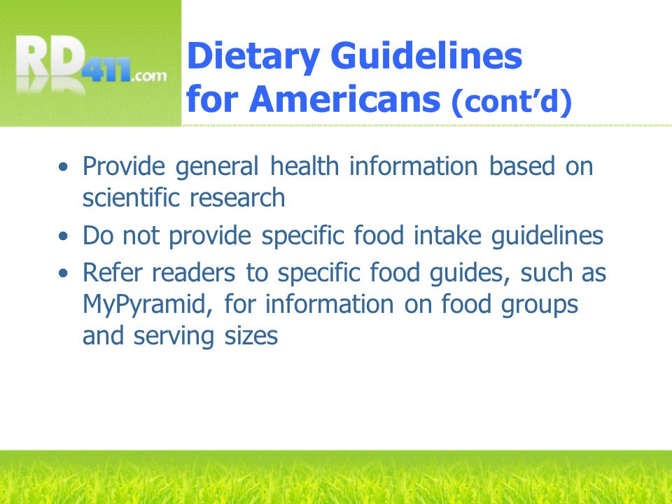 Dietary Guidelines for Americans (cont'd)