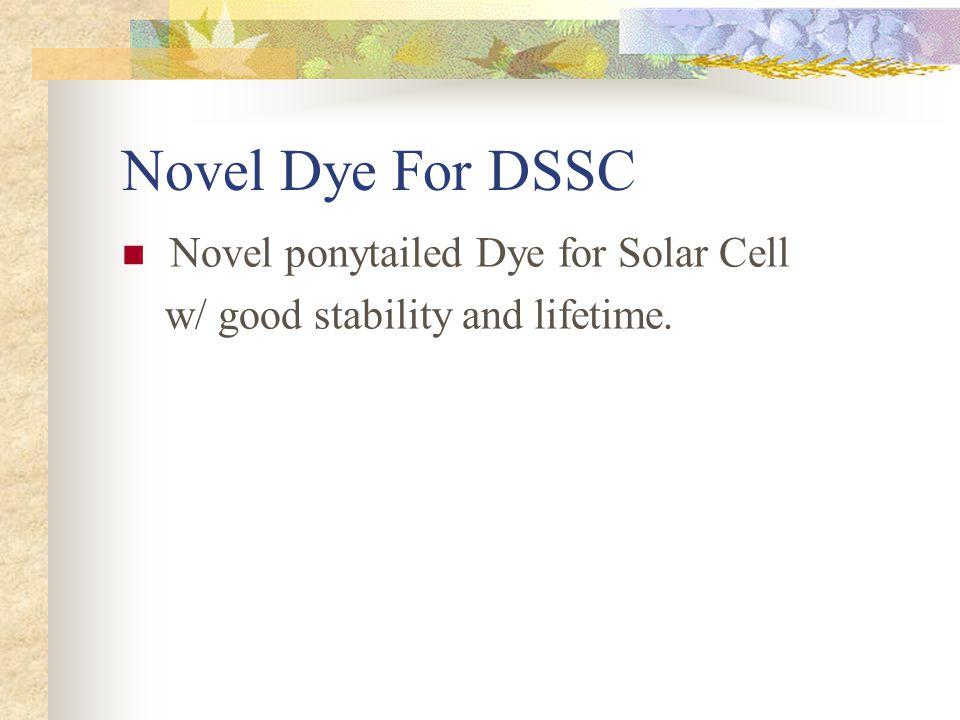 Novel Dye For DSSC Novel ponytailed Dye for Solar Cell