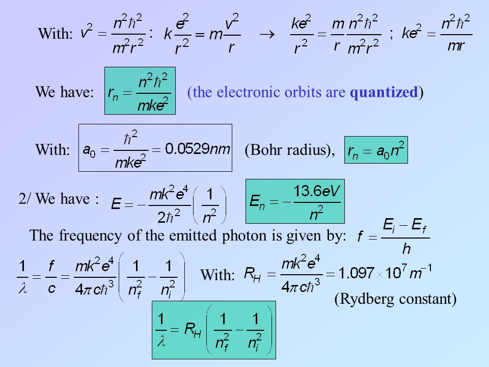 With:  We have: (the electronic orbits are quantized) With: (Bohr radius), 2/ We have : The frequency of the emitted photon is given by: