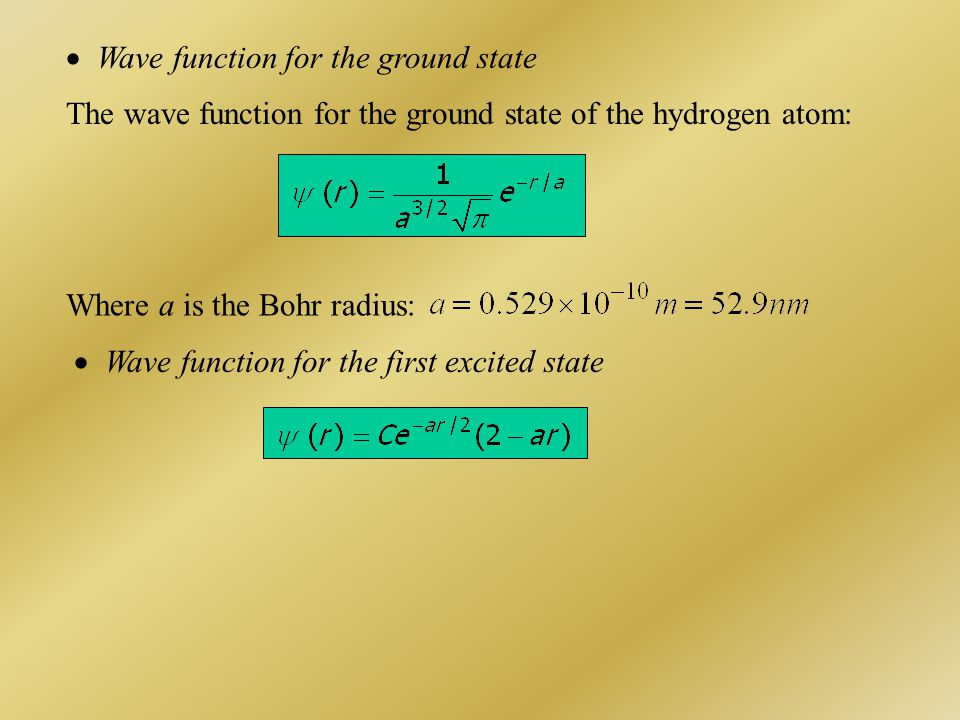  Wave function for the ground state