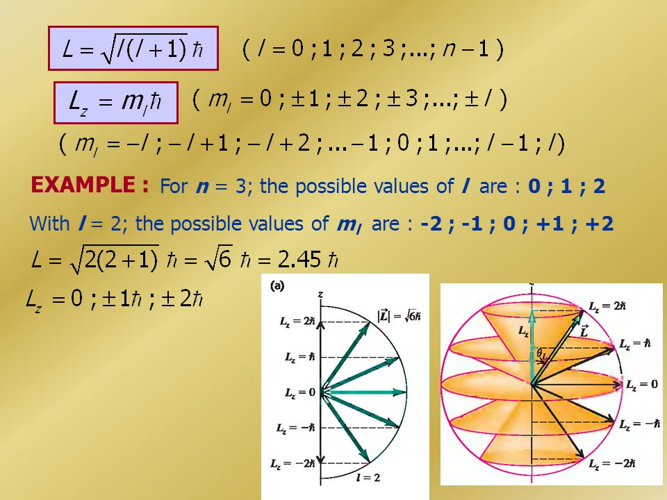 EXAMPLE : For n = 3; the possible values of l are : 0 ; 1 ; 2