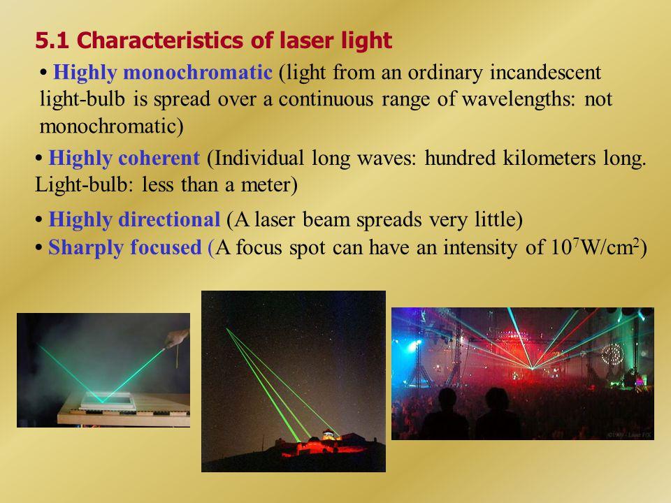 5.1 Characteristics of laser light