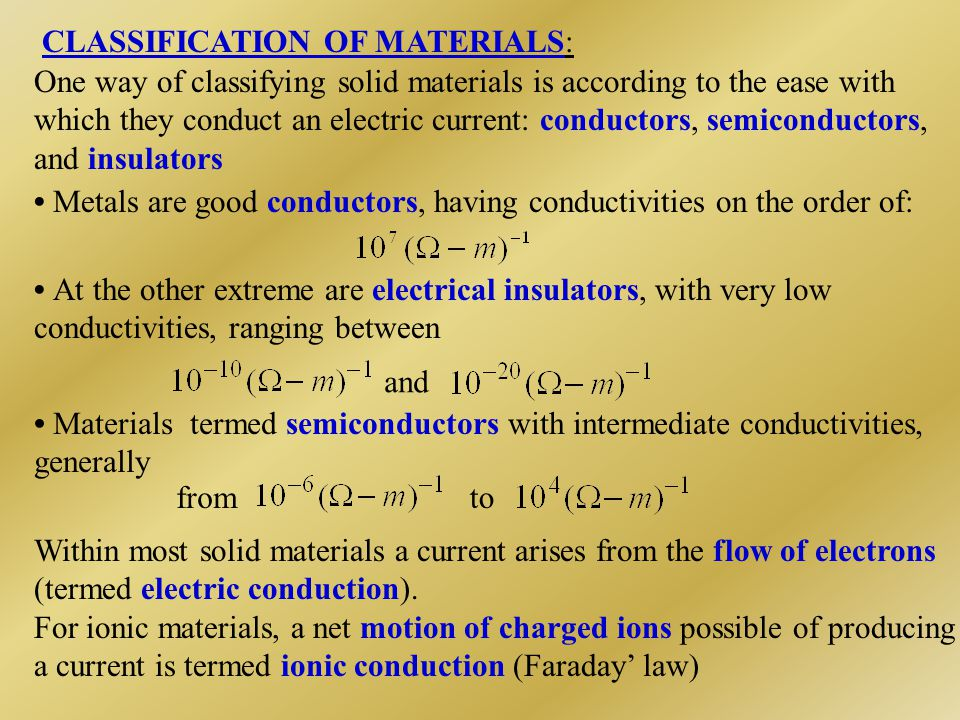 CLASSIFICATION OF MATERIALS: