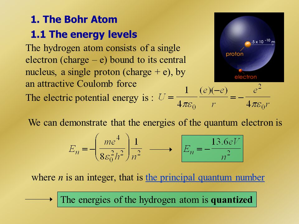 1. The Bohr Atom 1.1 The energy levels.