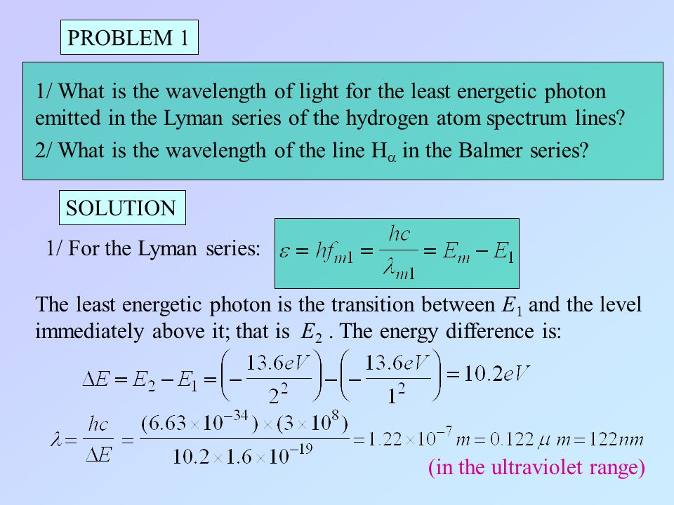 PROBLEM 1 1/ What is the wavelength of light for the least energetic photon. emitted in the Lyman series of the hydrogen atom spectrum lines