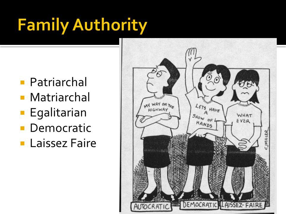 Family Authority Patriarchal Matriarchal Egalitarian Democratic