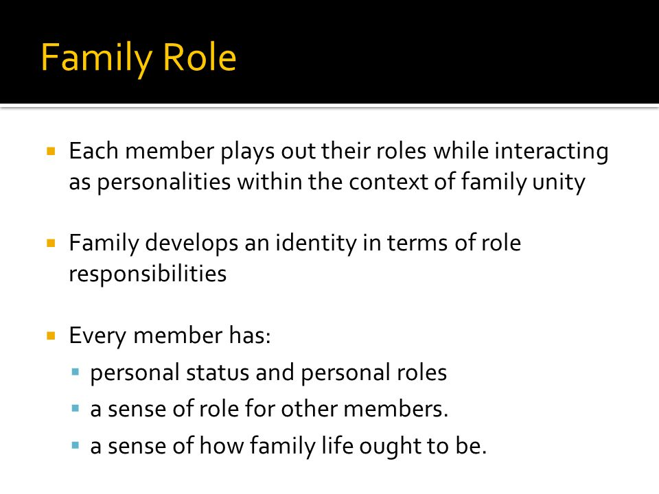 Family Role Each member plays out their roles while interacting as personalities within the context of family unity.