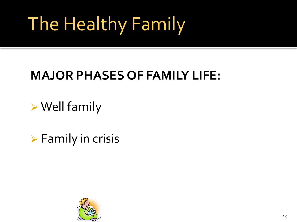 The Healthy Family MAJOR PHASES OF FAMILY LIFE: Well family