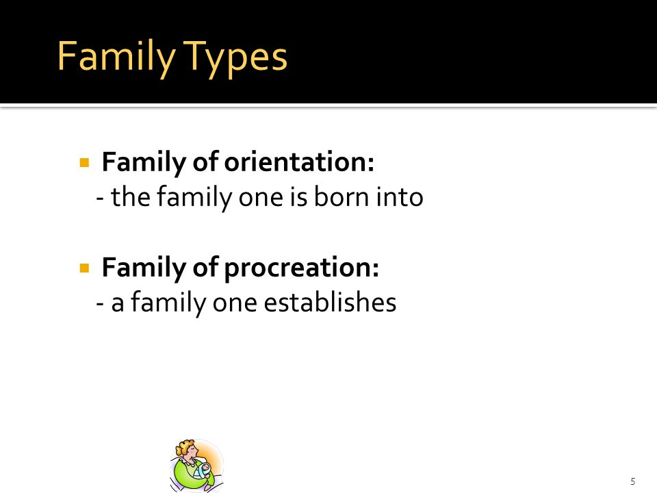 Family Types Family of orientation: - the family one is born into