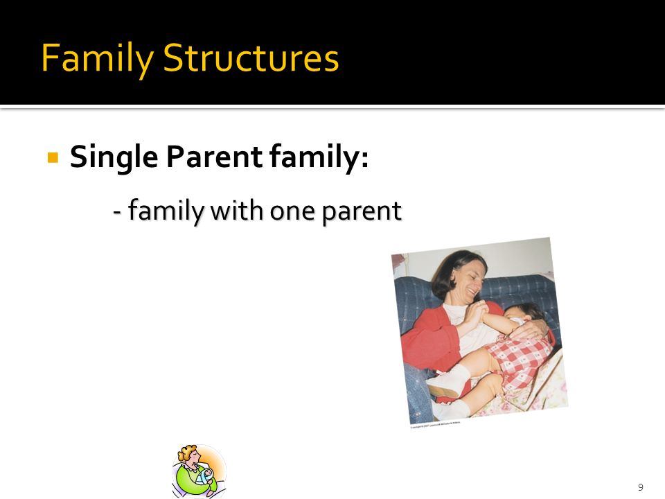 Family Structures Single Parent family: - family with one parent