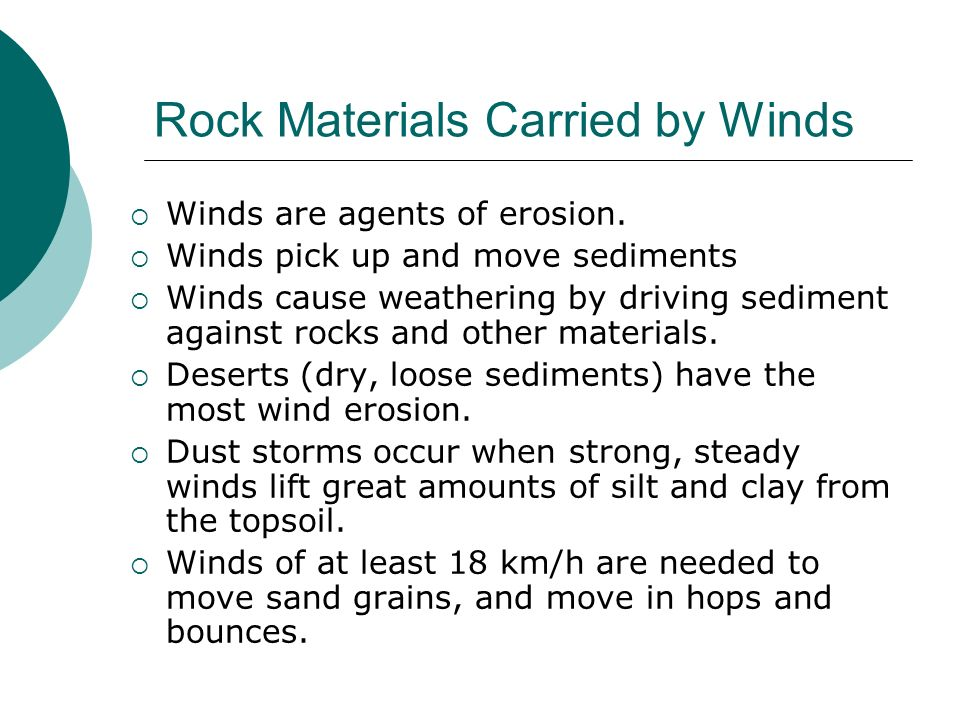 Rock Materials Carried by Winds