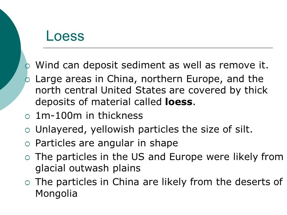 Loess Wind can deposit sediment as well as remove it.