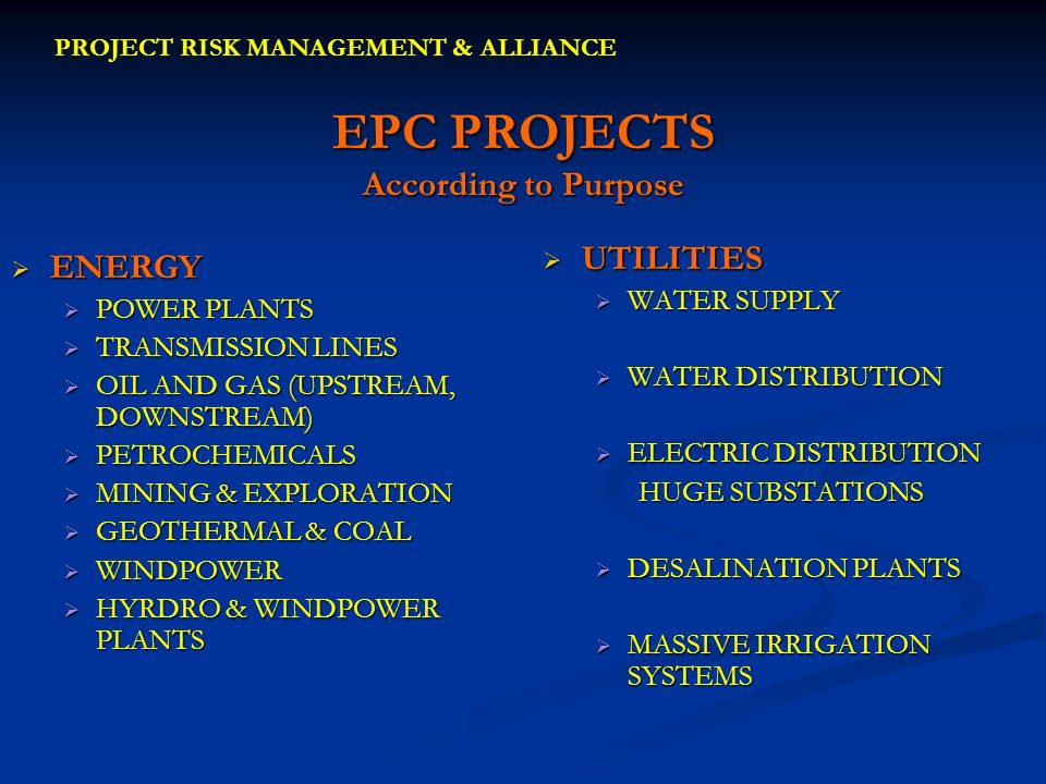 EPC PROJECTS According to Purpose