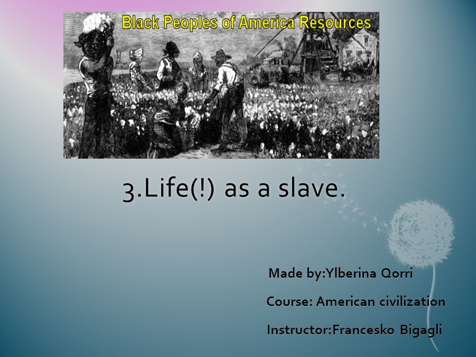 3.Life(!) as a slave. Made by:Ylberina Qorri