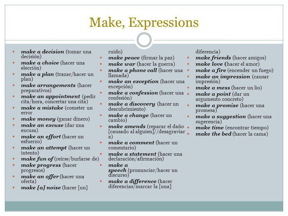 Make, Expressions make a decision (tomar una decisión)