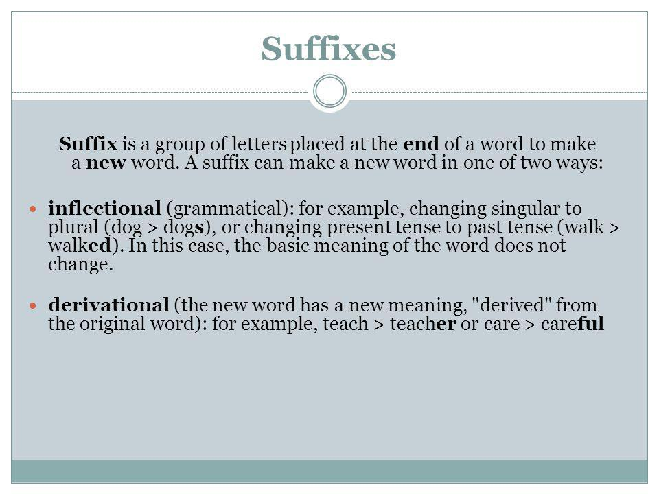 Suffixes Suffix is a group of letters placed at the end of a word to make a new word. A suffix can make a new word in one of two ways: