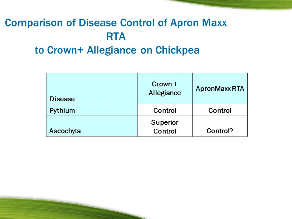 Comparison of Disease Control of Apron Maxx RTA to Crown+ Allegiance on Chickpea