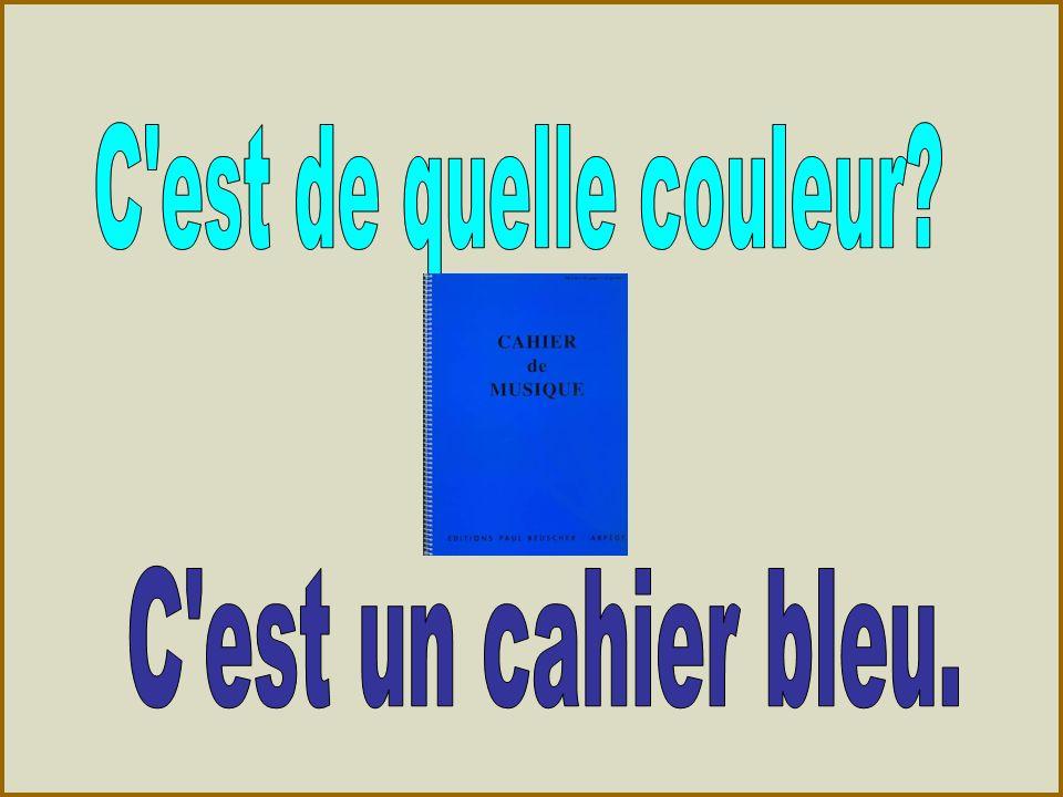 C est de quelle couleur C est un cahier bleu.