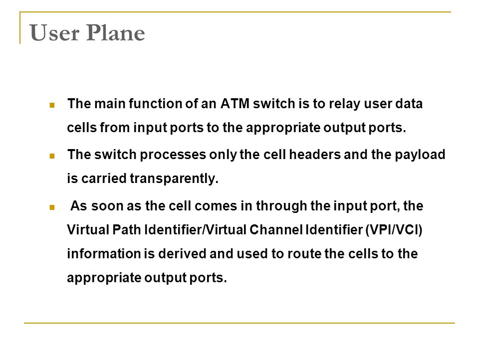 User Plane The main function of an ATM switch is to relay user data cells from input ports to the appropriate output ports.