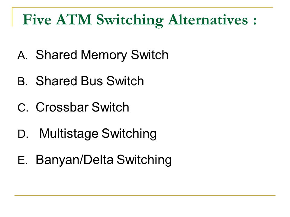Five ATM Switching Alternatives :