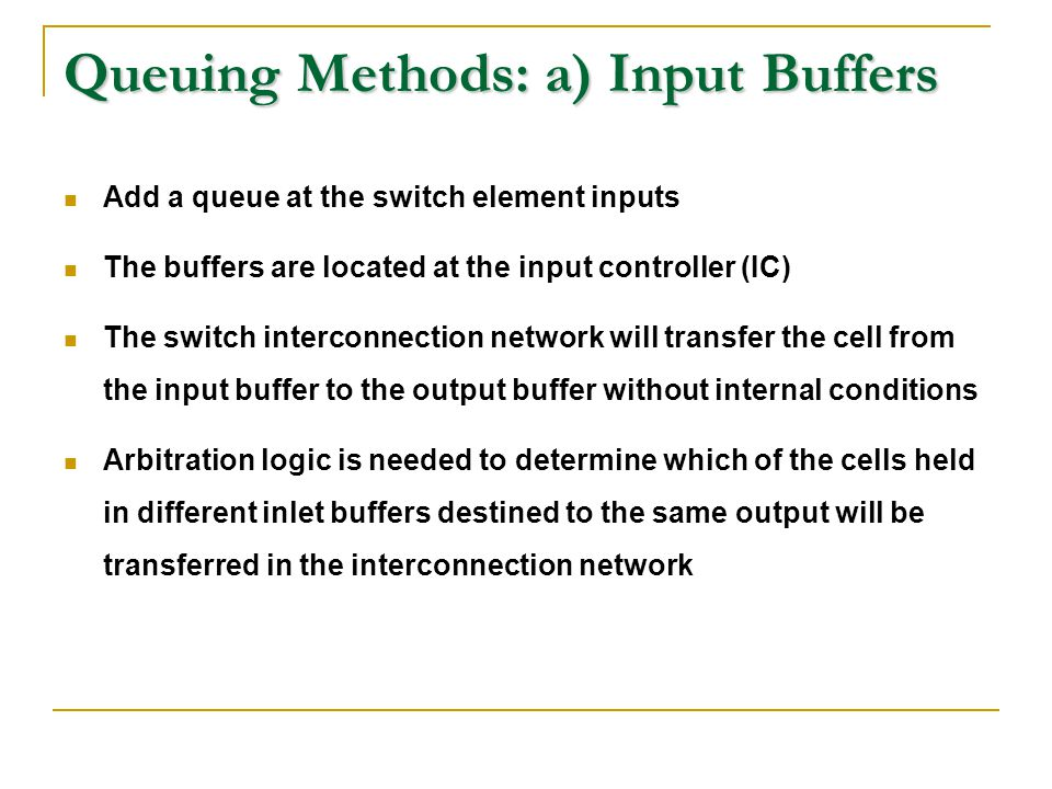 Queuing Methods: a) Input Buffers