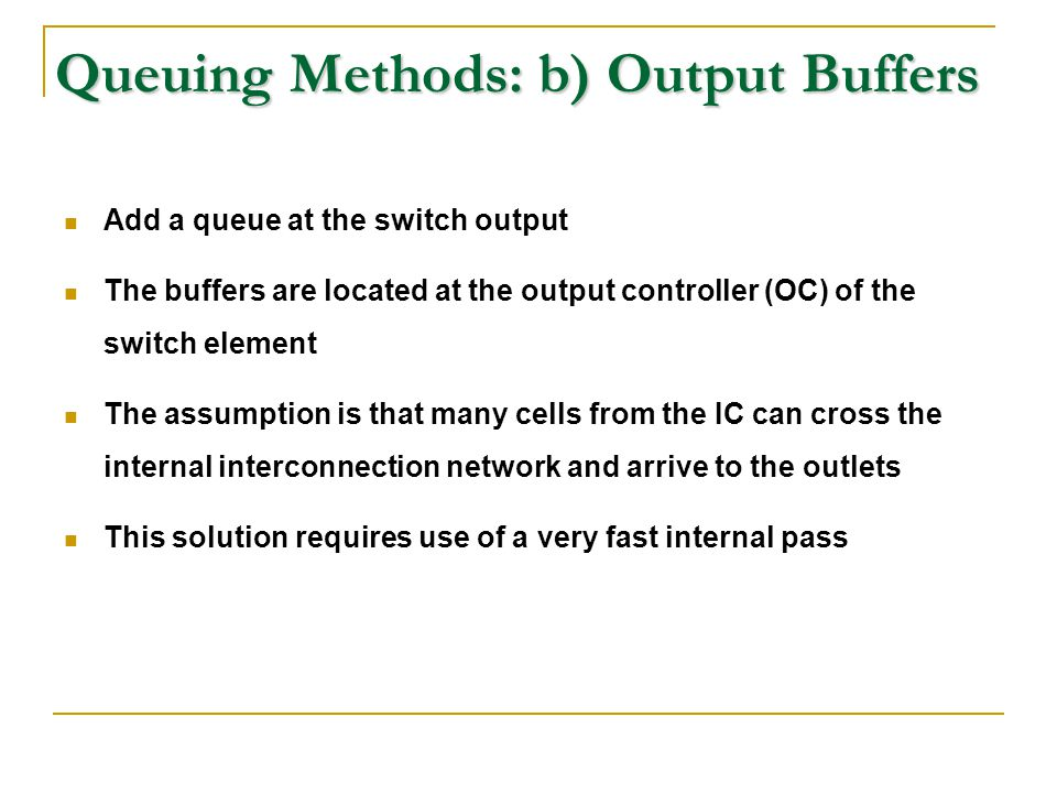 Queuing Methods: b) Output Buffers