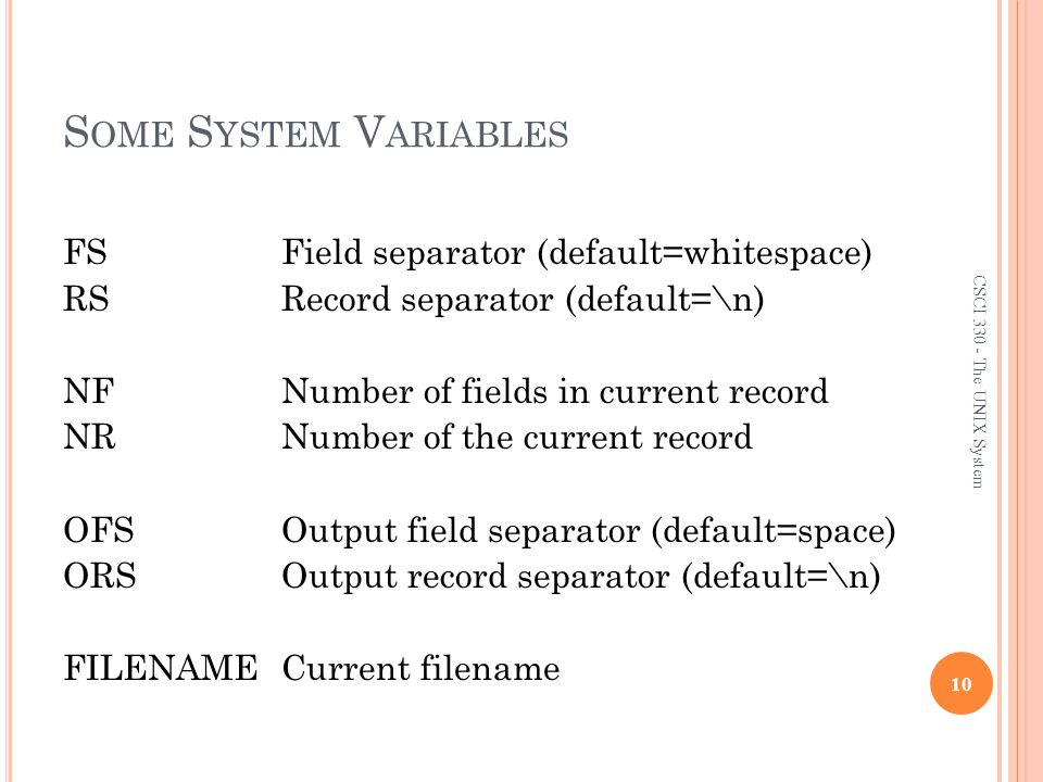 Some System Variables