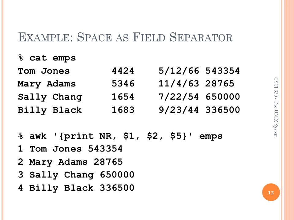 Example: Space as Field Separator