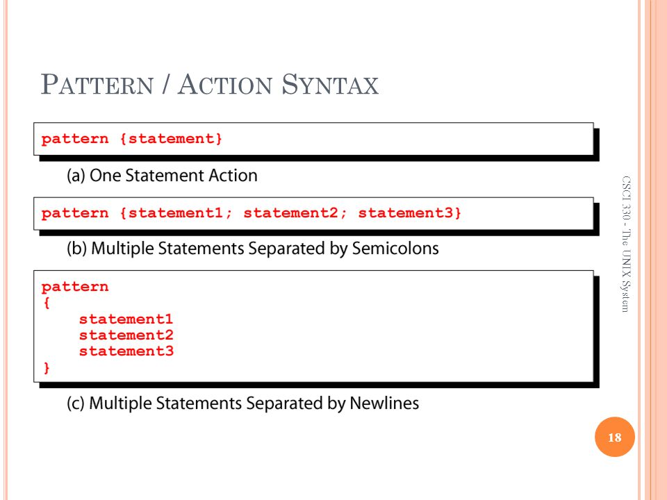 Pattern / Action Syntax