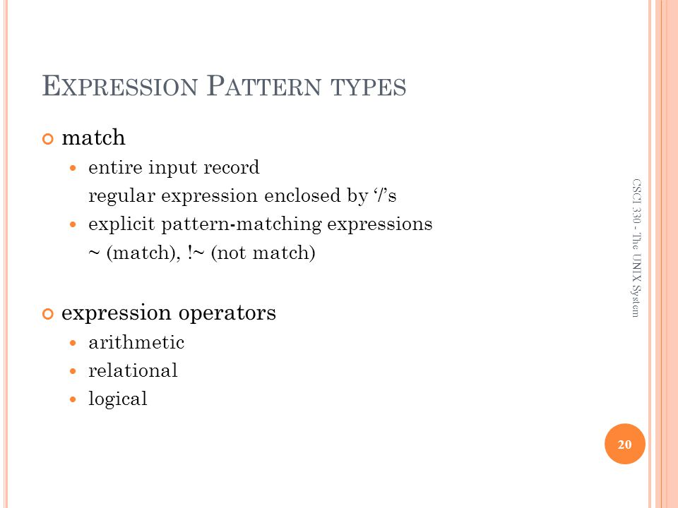 Expression Pattern types