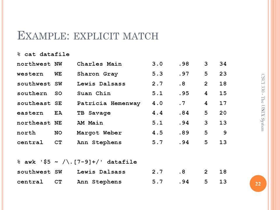 Example: explicit match