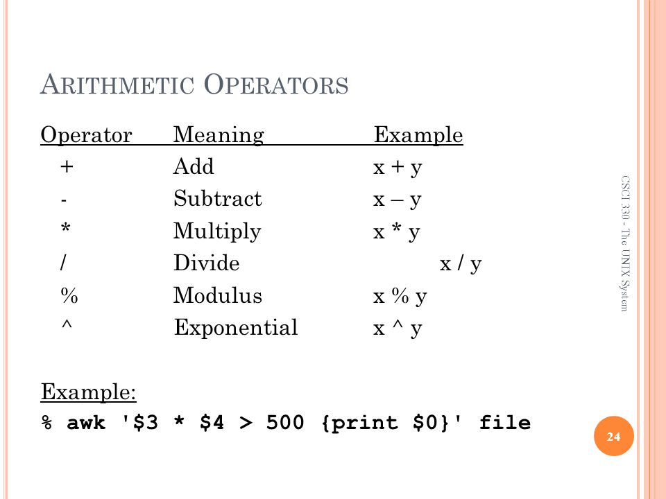 The AWK/NAWK Utility Arithmetic Operators.