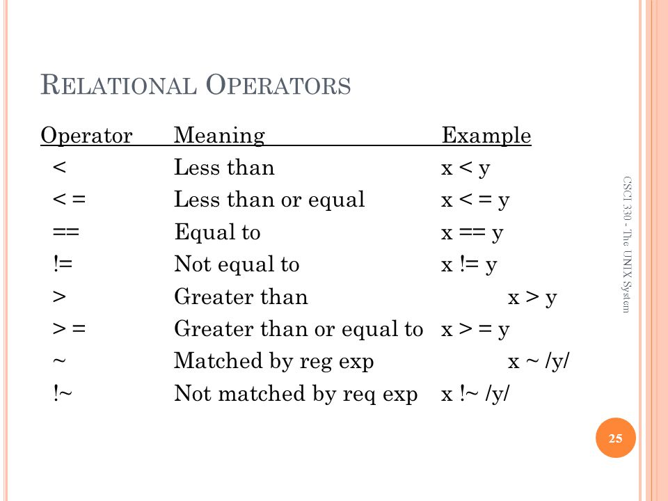 Relational Operators Operator Meaning Example < Less than x < y