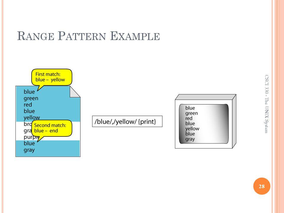 Range Pattern Example CSCI 330 - The UNIX System