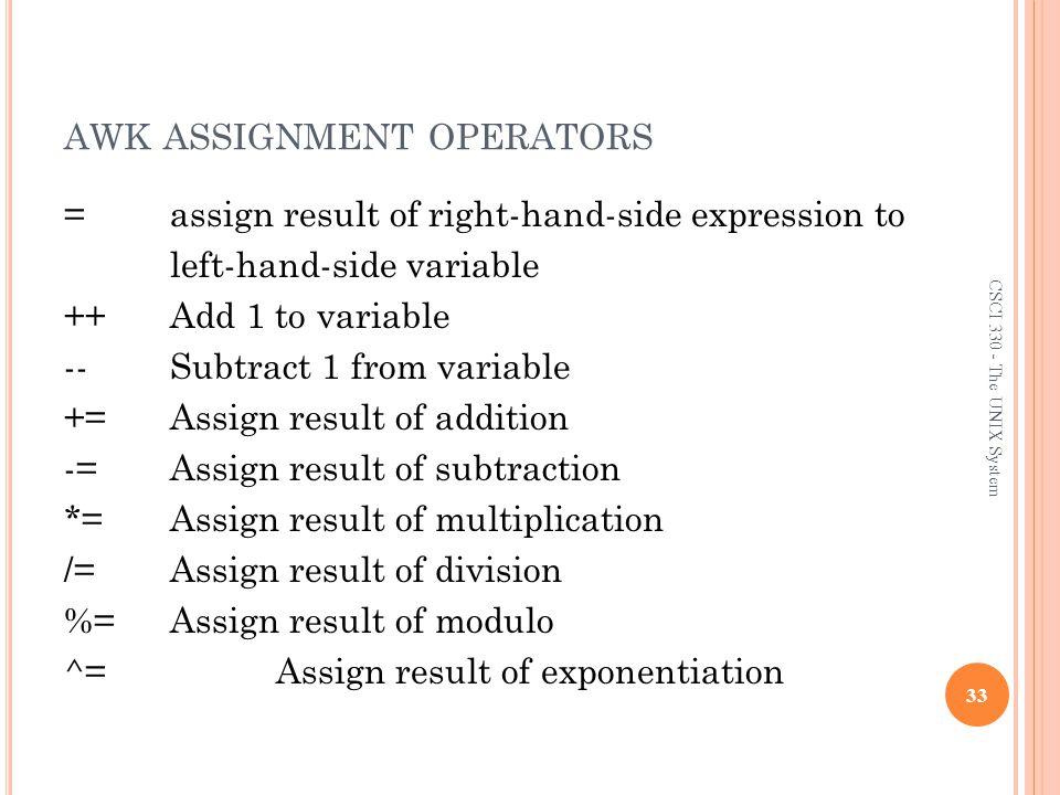 awk assignment operators
