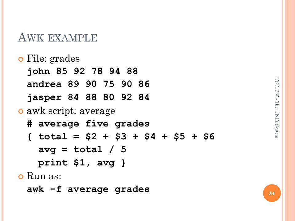 Awk example File: grades john 85 92 78 94 88 andrea 89 90 75 90 86