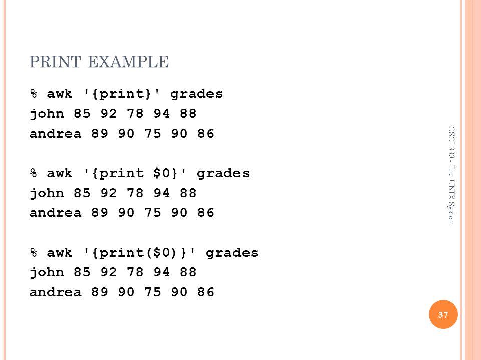 print example % awk {print} grades john 85 92 78 94 88