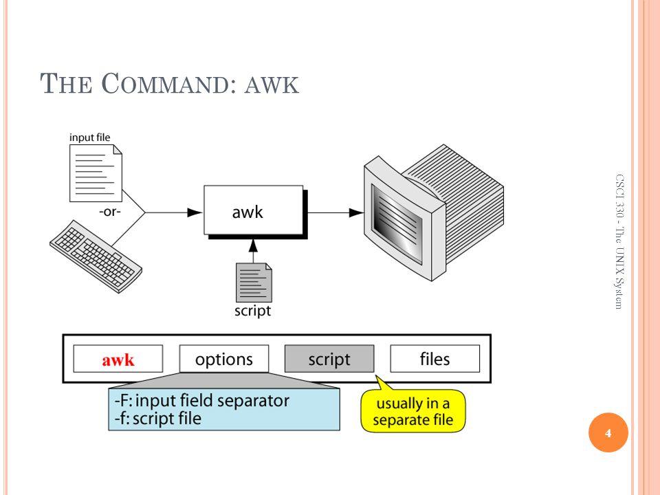 CSCI 330 The UNIX System Awk Bash Shell